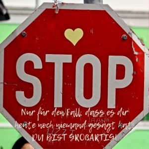 STOP-Schild, Boo Kap, Liebe, Du bist großartig, Motivation, Zuversicht